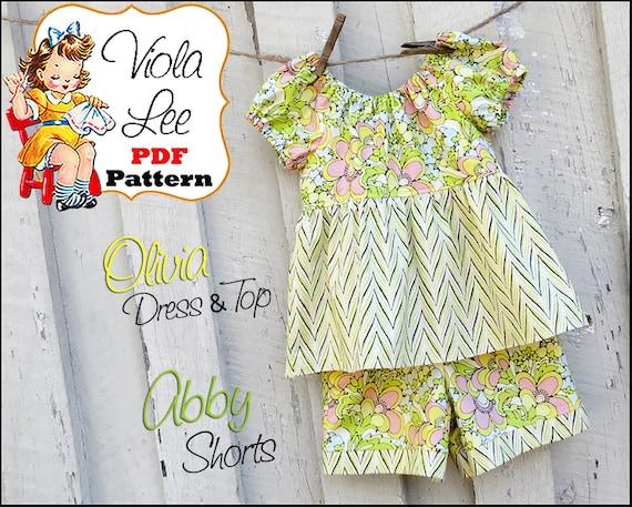 Olivia...Peasant Dress Pattern. Peasant Top Pattern, Girl's Sewing Pattern, Girl's Long Sleeve Dress Pattern. Toddler Dress pdf Pattern.