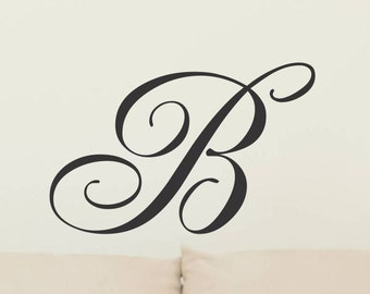 Initial Wall Decal Monogram Wall Decal Single Vinyl Letter Removable Wall  Decor Decoration Vinyl Wall Letter