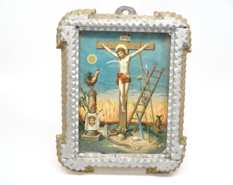 Early 1900's German Tramp Art Frame, Jesus on Cross, Hand Chipped Layered Wood, Silver