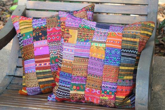 Colorful Vintage Hmong Embroidery Batik Applique Patchwork Pillow Cushion Cover