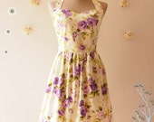 Bridesmaid Dress Summer Dress Purple Floral Dress Vintage Tea Party Dress Beach Dress Retro Dress Halter Dress -XS-XL,Custom