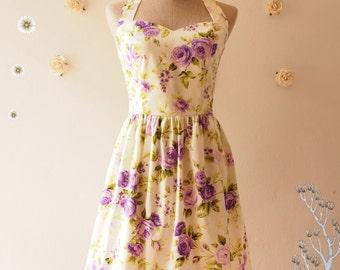 Bridesmaid Dress Summer Dress Purple Floral Dress Vintage Tea Party Dress Beach Dress Retro Dress Halter Dress -XS-XL,Custom