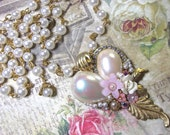 Rosary Chain, Pearl Cabochon, Leaf, Floral Assemblage Heart Necklace
