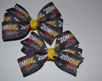 Set of Two Zombie Eat Flesh Hair Bows