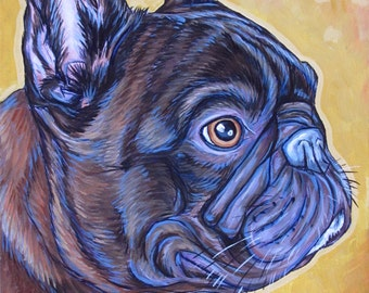 """9"""" x 12"""" Custom Illustrative Pet Portrait Painting in Acrylic Paint on Canvas of One Dog, Cat, Horse, Pets. Ready to Hang Art Painted Edges."""