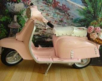 Dollhouse Mini Shabby Chic Pink Metal Scooter with Wooden Basket, Pink Roses, Pink Flower Pot