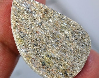 One Piece of Lovely Silver Color of Natural Agate  Druzy Teardrop (pear) Shape Cabochon  PRICE SLASHED!