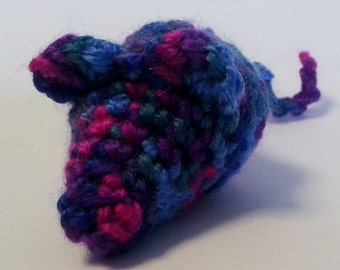 Dark Times Mouse Cat toy. crinkly, rattle or cat nip- Pink, green, blue and purple Variegated color