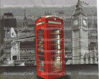 Decoupage napkins, paper napkins, telephone cabin, London, red cabin, city view, vintage, retro,