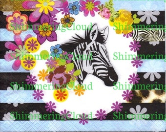 Decoupage napkins, zebra, photo, animal, animal, black, blue, white, frame, floral, floral zebra, retro, paper, napkins,stripes,