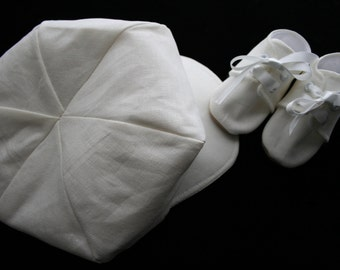 Ivory Cream Linen Baby Newsboy and Booties\Shoes\Christening, Baptism, Dedication, Easter, Special Occasion