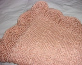 Hand knit baby blanket Elegant pattern with hand crocheted border - Made to order