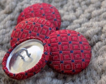 "Upcycled Red Silk Tie Buttons 7/8"" (22mm) - Set of 4.  Sewing Supplies Fasteners Embellishments Repurposed Necktie Handmade Fabric Covered"