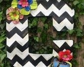 Spring Door Hanger, Initial Door Hanger, Mackenzie Childs Inspired Door Hanger,  Black and White Chevron with Bright Flowers Door Hanger