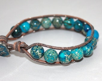 blue crazy lace agate single wrap - beaded wrap - wrap bracelet - blue jewelry - ships free - wrapped leather - free shipping
