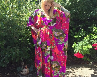 1960s ADJUSTABLE psychedelic bold color print long gown