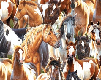 Horses, Unbridled by Wilmington Prints, Horse Fabric, 10213