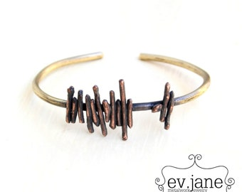 Wire Stripes Bracelet Cuff Brass Mix Metal Copper Oxidized Band Slim Abstract Bangle Boho Hippie Ethnic Open