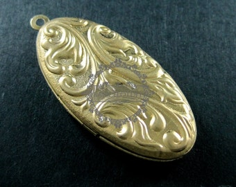20x40mm vintage style raw brass oval victorian flower engraved DIY locket pendant charm DIY supplies 1120012