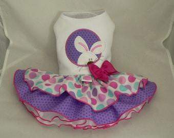 Dog dress. Easter. Peek-a-Boo Bunny by Poshdog. Tutu skirt.