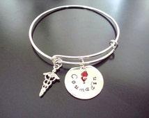 Medical ID Bracelet - Personalized Charm Bracelet - Bangle - Stacking - Custom - Fine  Silver - Medical Alert - Adjustable - Charm Bracelet