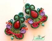 Long Dangle Soutache Earrings- Wild Orchid- Ruby Earrings- Turquoise Earrings- OOAK Earrings