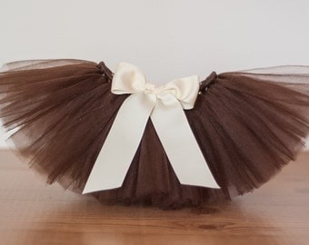 "Brown tutu ""Willow"" Newborn girls tutu skirt baby tutu photo prop first birthday tutu 3 months 6 months 9 months 12 months 18 months costume"
