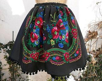Gypsy skirt , Bohemian Gipsy Skirt , Folk flower skirt , Boho flower skirt , Folk skirt , Etno Skirt