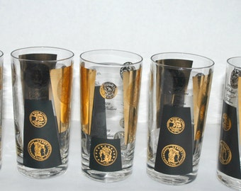 Sale Cera vintage gold coin glasses  Mad Men  barware  black and gold hi ball glasses set of  5