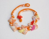 Orange statement necklace, knitted geometric jewelry, OOAK fiber art