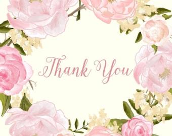 Romantic Peony Rose Thank you card - elegant floral wreath flowers pink peach pastel printable