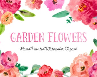 Garden Flowers Hand Painted Watercolor Clipart Clip Art - Personal and Commercial Use peony ranunculus posy blossom rose red pink green