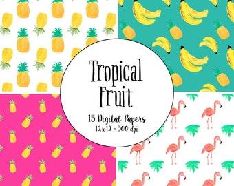 Watercolor Tropical Fruit Pineapple Pattern Digital Paper - pineapples lemon orange banana flamingo palm tree florida clip art hot pink