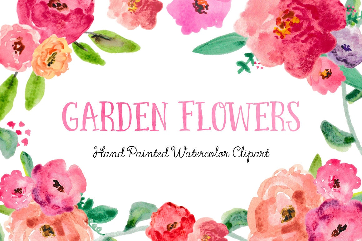 Garden Flowers Hand Painted Watercolor Clipart Clip Art