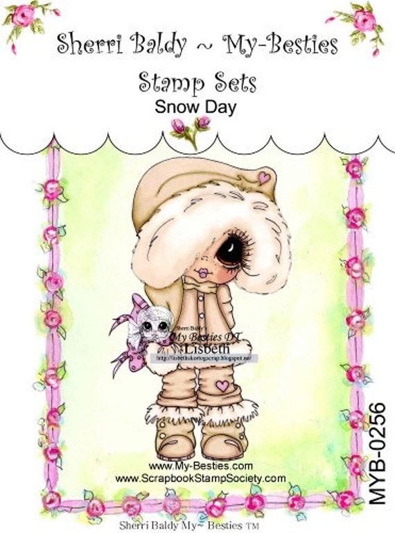My-Besties Clear Rubber Stamp Big Eye Besties Big Head Dolls Snow Day  MYB-0256  By Sherri Baldy