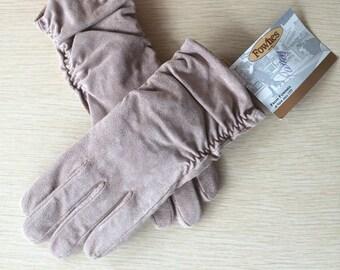 SUEDE GLOVES )( Vintage Fownes Winter Gloves )(