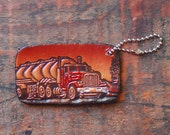 Leather Keychain Embossed Semi Truck, Upcycled