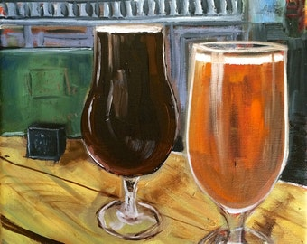 A schooner or two of ale - original oil painting 8 x 8 in