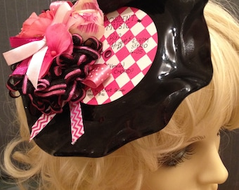 Unique Rockabilly Record candy pink hat flower fascinator headpiece