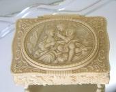 Vintage Jewelry Trinket Vanity Keepsake Box Romantic Lovers Embossed Ornate Plastic Ivory Footed Hollywood Regency Hinged Box w/ tray mirror