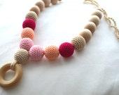 Nursing Necklace, Blushing Pinks with Teething Ring, Natural Motherhood Jewelry, Babywearing