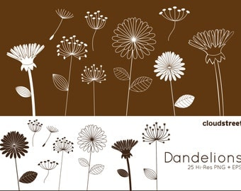 20% OFF Dandelions clipart for personal and commercial use ( whimsical flower clip art ) vector graphics
