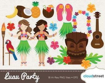 20% OFF Vector Hawaiian Luau Party clip art for / Luau clipart / Luau clip art / Hawaii clipart / Tiki clipart / commercial use ok