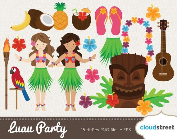 Tropical Themed Party Ideas Free Printables: BUY 2 GET 1 FREE Vector Hawaiian Luau Clip Art / Luau Clipart