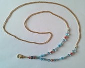 ID Badge Holder Name Tag GOLD Chain,Torquoise Light Blue & Red Swarovski Crystals, Lanyard Fashion Necklace