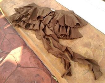 Gypsy Ruffled Mini Skirt / Cotton Tutu - Rosetta - Earthy Brown -