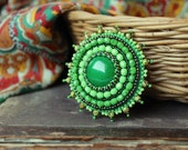 Green Brooch Cabochon Brooch Green Beaded Pin Bead embroidered Brooch Brooch Beadwork Brooch Green Jewelry MADE TO ORDER