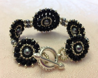 Black and Silver Woven Bracelet