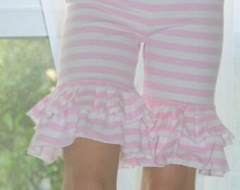 Pink double ruffle girls shorts sz 6 mo - 8 years