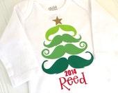 Mustache Christmas Tree Bodysuit - Boys Christmas Bodysuit - Christmas Tree Bodysuit - Personalized Christmas Onesie - Baby Boy Bodysuit -